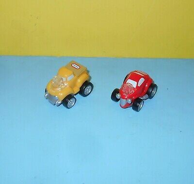 Little Tikes Hot Rod Mini Racers Kid Powered Pull Back Toy Pair  Red and Yellow