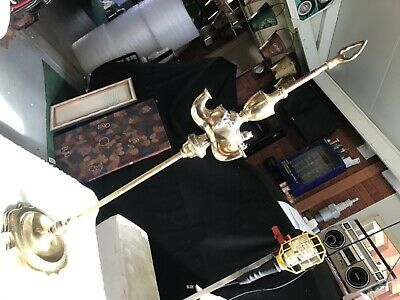 Antique oil lamp All brass  standing three lamp