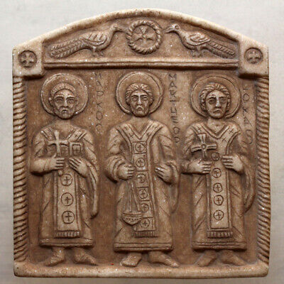 Extremely Rare Late Byzantine-Balkans Christian Stone Plaque Ornament Panel Ca