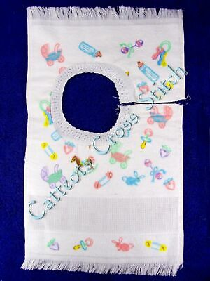 Cross Stitch Baby Bib White With Baby Toys 14 Count Aida Insert SECONDS
