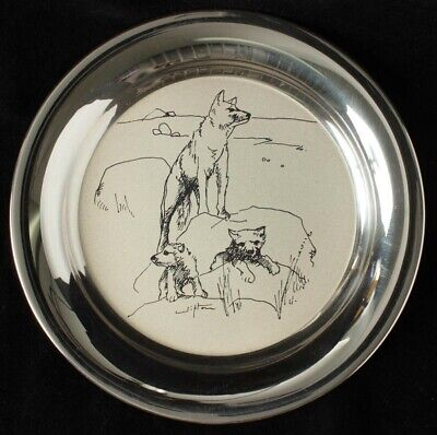 """Australia 1979 195g Stg Silver Plate """"The Dingoes"""" by Clifton Pugh, Signed"""