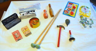 Vintage Children's Toys - Lot of 13 - Marbles/Jacks/Mallets/Dexterity Puzz/etc