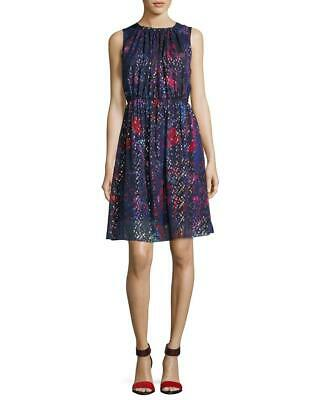 NWT Elie Tahari Navy/Multi Demetria Printed Silk Sleeveless Dress Size 16 $378