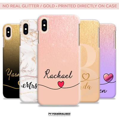 Personalised Hard Phone Case Initials Name Heart Fade Glitter Ombre For Iphone