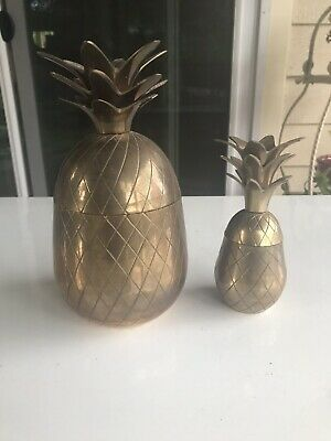 A Pair Of Vintage Brass Pineapple Trinket Box Candle Holder