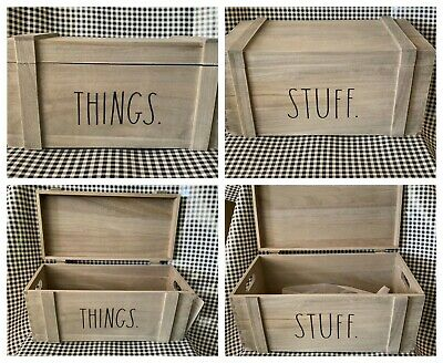 """New RAE DUNN LL """"THINGS"""" & """"STUFF"""" Wooden Boxes By Design Styles"""