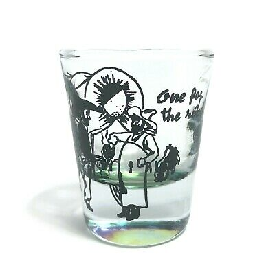 Vintage Shot Glass - One for the Road - Green Bottom - Stage Coach Old Western