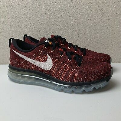 NIKE FLYKNIT AIR Max Red Men's Running Sneakers Red Citrus