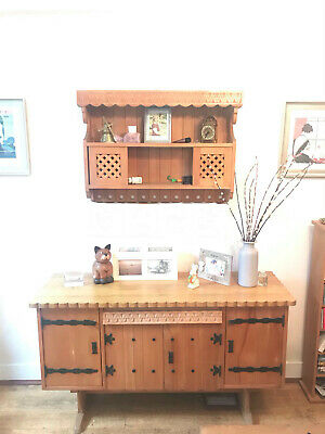 Cottage style Oak Sideboard / Solid Wood and matching wall cupboard