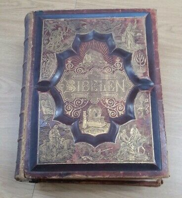 Huge Antique 1890 German Holy Bible Waverly Publishing Co. Chicago, Ill