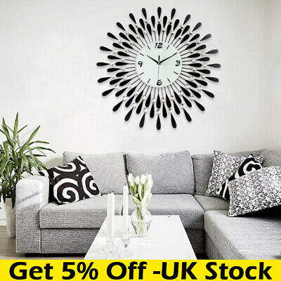 Clear Diamante Black Sunflower Metal Spiked Wall Clock Beaded Jeweled