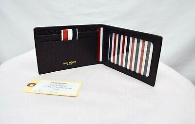 $370 NWT Thom Browne Dual Fold Black Card Case Leather Authentic ID Slot