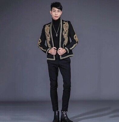 Men's High end Blazer jacket Western style Casual Court Luxury Open front Coat