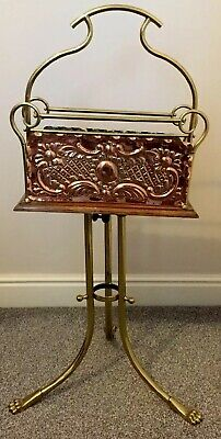 Antique Swivel Top Magazine Rack Stand,Oak/Copper/Brass.lion Paw Feet.