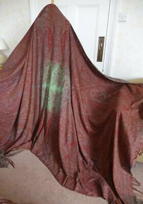 "Lovely antique c1850 woven wool paisley Crinoline shawl - 124"" x 64"""