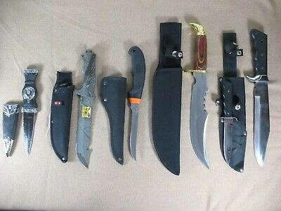 Lot of 5 Different Fixed Blade Sheath Knives