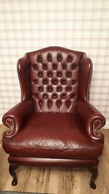 Chesterfield Queen Anne Oxblood Red Leather Wing Back fireside Chair oxblood