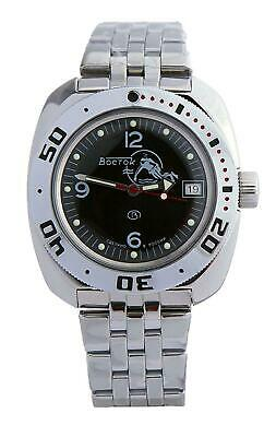 Vostok Amphibian Watch 710634 Scuba Dude Military Diver Russian Automatic Black