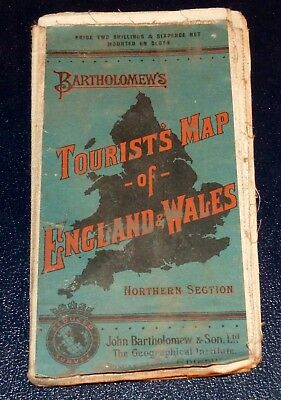 Vintage Bartholomew's Tourist's Cloth Map of England & Wales northern section