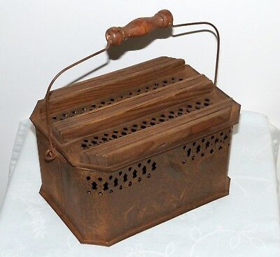 Rare Antique French Embossed tinplate car or carriage foot warmer.Wooden handle