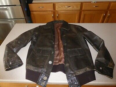 Vintage McGregor Leather Jacket Coat Bomber Aviator Brown sz 50