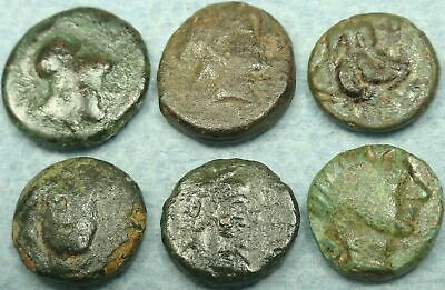 Lot Of 6 Small Greek Bronze Coins