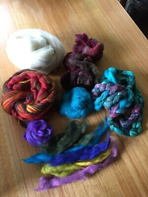 360 Grams Of Mixed Colour Merino Wool For Needle Felting Hand Spinning