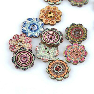 Pack of 5 - Vintage Flower Shaped Decorative Buttons 20mm - Sewing/Scrapbooking