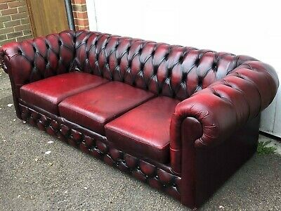 Classic Oxblood Red Leather Chesterfield Sofa 3-Seater.