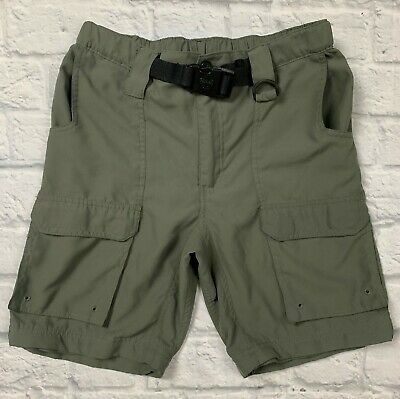 Boy Scouts of America Youth Large Green Switchback Polyester Shorts w/Belt EUC