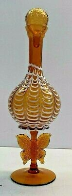 Antique Very Rare Amber Glass, Butterfly Monarch Decanter Amberina
