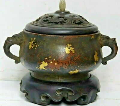 Fine Quality Chinese Gold Splash Bronze Censer With Jade Finial & Seal Mark Rare
