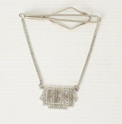Sterling Silver and Marcasite Tie Clip with Chain Mid-Century Monogram