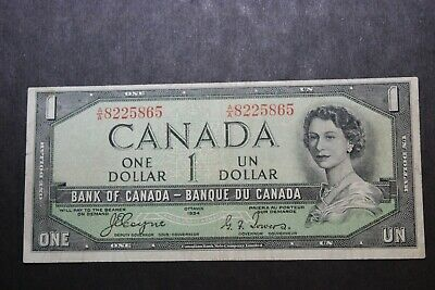 1954 BANK OF CANADA QEII $1 ONE DOLLAR DEVIL FACE NOTE BC-29a