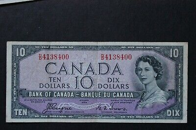 1954 BANK OF CANADA QEII $10 ten DOLLAR DEVIL FACE NOTE BC-32a