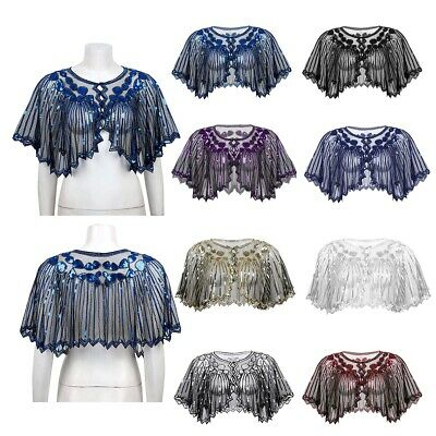 Vintage Womens 1920s Shawl Beaded Sequin Bolero Cape Evening Cover Up Party Tops