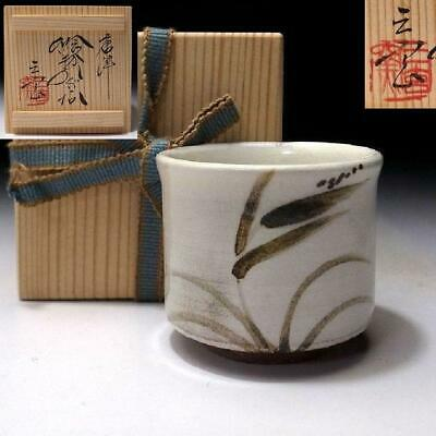 OT6: Vintage Japanese Pottery Sake cup, Karatsu ware with Signed wooden box