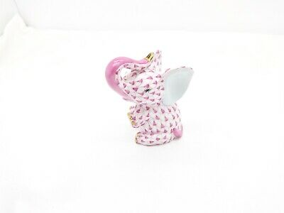 "Herend Figurine-Cute Baby Elephant-Pink/Raspberry Fishnet,3"",Excellent"
