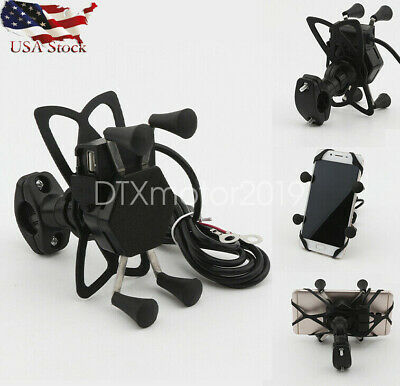 "Motorcycle ATV 7/8"" 22mm Handlebar Cell Phone Smarphone Holder Mount USB Charger"