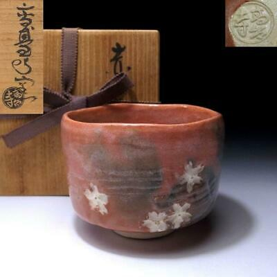AN3: Japanese Tea Bowl, Raku Ware by 1st class potter, Toraku Morisato, SAKURA