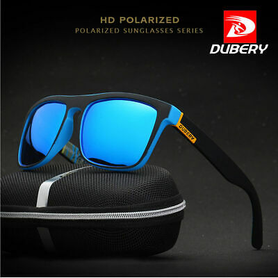 DUBERY UV400 Polarized Mens Sunglasses Square Cycling Driving Sun Glasses NEW