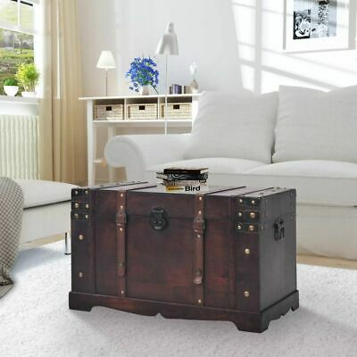 Antique Style Pirate Treasure storage Chest Vintage Trunk Chic Box Coffee Table