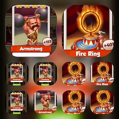 Coin Master Card's Bundle ***5x Fire Ring & 5x Armstrong ***(Fastest Delivery)
