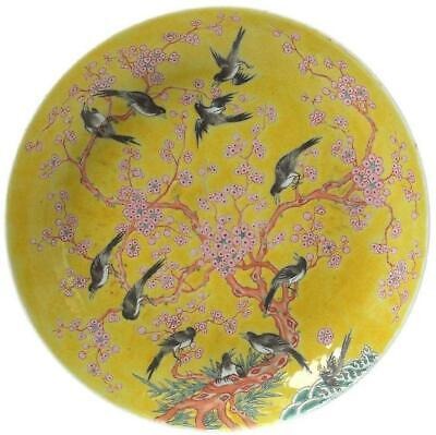 Antique Chinese Famille Rose Yellow Ground Enameled Porcelain Low Plate.