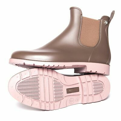 Womens Rain Waterproof PVC Fashion Ankle Fashion Taupe Pink Chelsea Boots