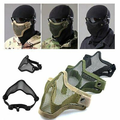 Tactical Airsoft Half Face Mask Metal Steel Mesh Face Cover Protective Mask Gear