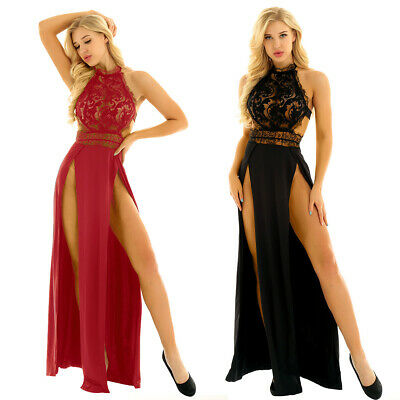 Women's See Through Lace Maxi Dress Evening Cocktail Party Dresses Sundress Long