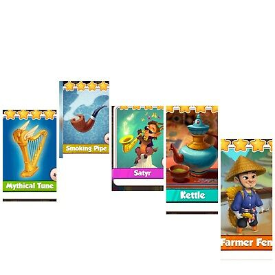 Coin Master Bundle ***Smoking Pipe& Mythical Tune&Satyr&Kettle&Farmer Feng***