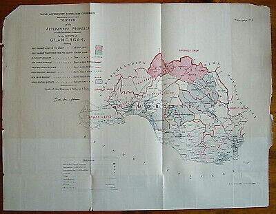 Rare - GLAMORGANSHIRE Antique Ordnance Survey Map 1888. Robert Owen Jones