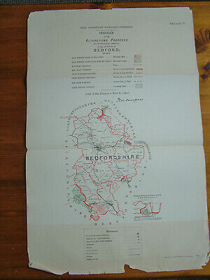 Rare - BEDFORDSHIRE Antique Ordnance Survey Map 1888. Robert Owen Jones